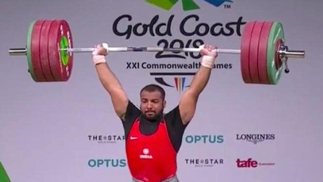 Pardeep Singh lifted lifted 352 kg (152 kg snatch + 200 kg clean and jerk) to claim the second spot in the 105 kg men's weightlifting event after an exciting showdown with Samoa's Sanele Mao at the 2018 Commonwealth Games in Gold Coast on Monday.(Twitter)
