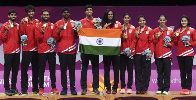 India celebrate winning gold in the badminton mixed team event at the 2018 Gold Coast Commonwealth Games on April 9, 2018.(AFP)