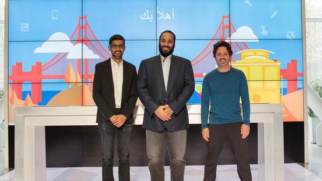 Saudi Arabia's crown prince Mohammed Bin Salman (centre) poses for camera during his visit to Google, Silicon Valley, April 6, 2018(REUTERS)
