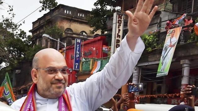 Bharatiya Janata Party president Amit Shah after a function at Swami Vivekananda's ancestral house during his visit to Kolkata in September 2017.(PTI File Photo)