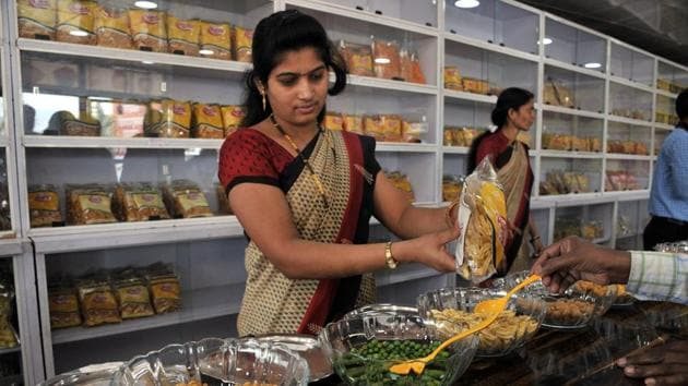 Navmi Foods, located at Kamthadi, on the Pune-Bengaluru Highway, has a range of products including wafers and savouries.(HT PHOTO)