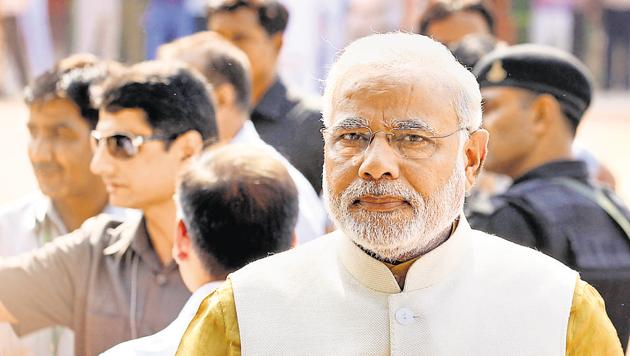 """Prime Minister Narendra Modi will observe a day-long fast on April 12, as a mark of protest against what the BJP terms the """"Congress's obstructionist politics"""" during the second half of the budget session of Parliament.(Ajay Aggarwal/HT File Photo)"""