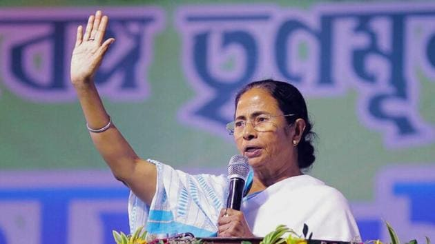 West Bengal Chief Minister Mamata Banerjee during a party rally. Ms Banerjee has her political compulsions. She has to protect her turf against the saffron onslaught(PTI)