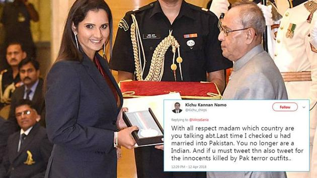File photo of Tennis player Sania Mirza receiving Rajiv Gandhi Khel Ratna Award in New Delhi.(HT Photo)