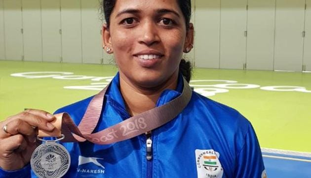 With the silver in the women's 50m rifle prone event at the 2018 Commonwealth Games in Gold Coast, Tejaswini Sawant now has a total of six CWG medals across three editions (Melbourne 2006, Delhi 2010 and Gold Coast 2018).(HT Photo)
