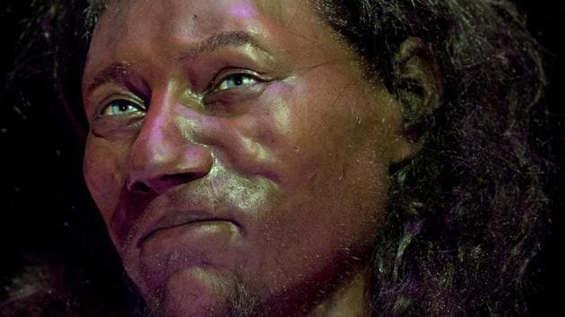 A full face reconstruction model made from the skull of a 10,000 year old man, known as 'Cheddar Man', Britain's oldest complete skeleton is pictured during a press preview at the National History Museum in London on February 6, 2018(AFP)