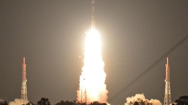 ISRO's navigation satellite IRNSS-1I, on board PSLV-C41, lifts off at the Satish Dawan Space Centre in Sriharikota in Andhra Pradesh.(AFP)