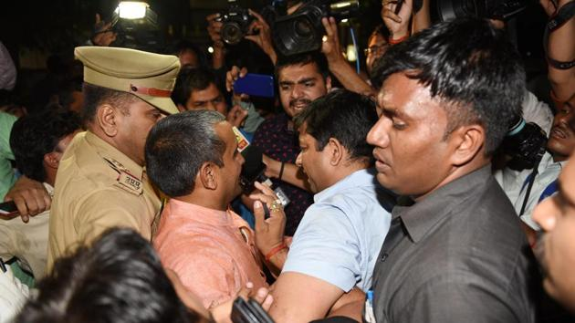 BJP MLA Kuldeep Singh Sengar, who is accused of raping a minor girl, speaks to media in Lucknow on Wednesday.(Subhankar Chakraborty/HT PHOTO)