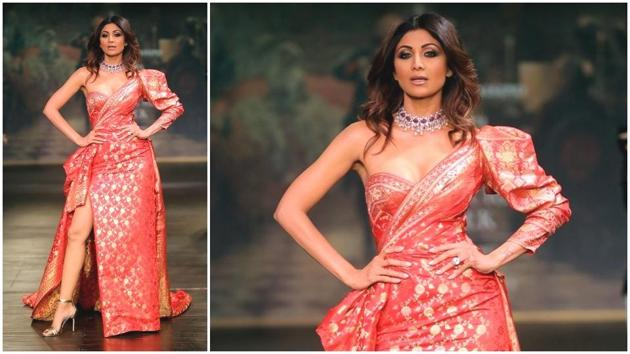 Shilpa Shetty Kundra walking the ramp at India Couture Week 2017 in a Monisha Jaising creation. (IANS File Photo)