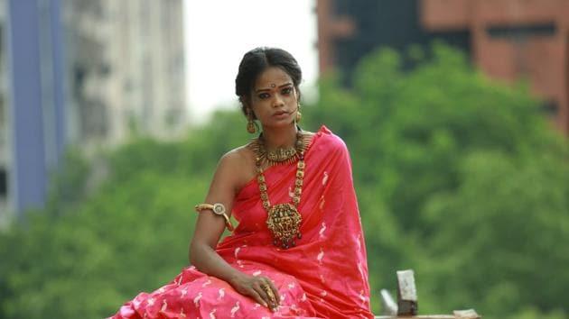 Model Renee in a Banarasi sari by Weaver Story(Photo: Amal KS/HT)