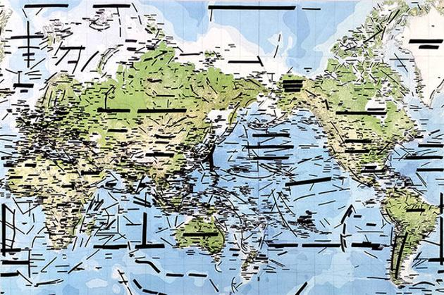 Jaret Vadera presents No Country, a world map with the name of every country covered by black blanks of various lengths.