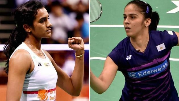 Saina Nehwal beat PV Sindhu in the 2018 Commonwealth Games (CWG 2018) badminton women's singles final in Gold Coast today. Get highlights of the Saina Nehwal vs PV Sindhu 2018 Commonwealth Games badminton women's singles final here.(HT Photo)