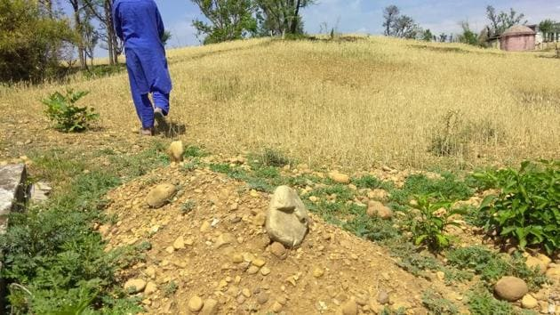 A pile of wet mud with two large round stones at both ends is the only remaining earthly sign of the Kathua girl.(HT Photo)