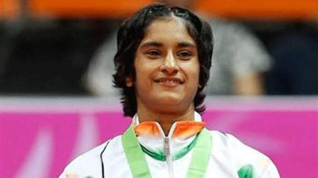 Vinesh Phogat beat Jessica Macdonald of Canada in the women's freestyle wrestling 50 kg nordic system match at 2018 Commonwealth Games.(Twitter)