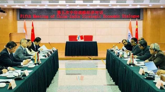 Indian and Chinese officials at the 5th meeting of the Strategic Economic Dialogue in Beijing on April 14, 2018.(Courtesy: Indian embassy in Beijing)