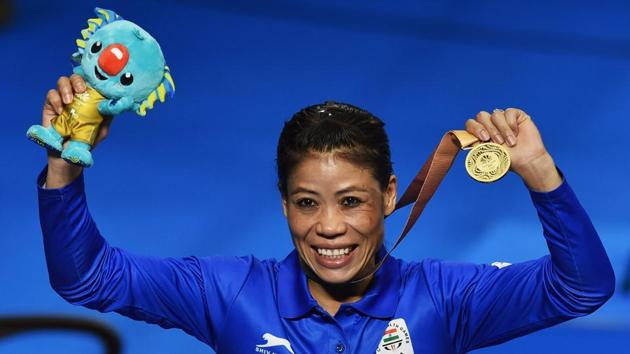 India's Mary Kom won the women's 48kg boxing gold at the 2018 Commonwealth Games in Gold Coast on Saturday.(PTI)