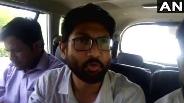 Gujarat MLA Jignesh Mevani in Jaipur on Sunday.(ANI/ Twitter)