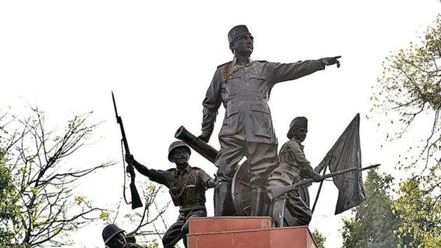 The ensemble of Subhash Chandra Bose and INA soldiers was mounted at the park in 1975. Sanchit Khanna/HT PHOTO(Sanchit Khanna//HT)