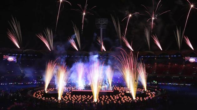 Fireworks light up at Carrara Stadium during the closing ceremony of the 2018 Commonwealth Games on the Gold Coast, Australia, on Sunday(AP)