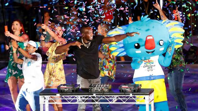 Former Jamaican sprinter Usain Bolts plays the DJ during the closing ceremony of the 2018 Commonwealth Games (CWG 2018) in Gold Coast on Sunday.(REUTERS)