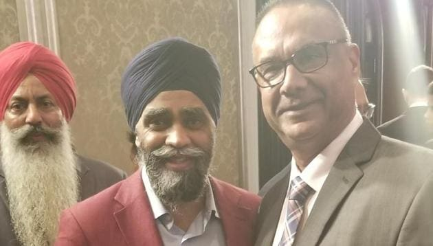 Jaspal Atwal with federal minister Harjit Sajjan at the Mumbai reception in honour of Prime Minister Justin Trudeau during his trip to India in February.(Courtesy: Jaspal Atwal)