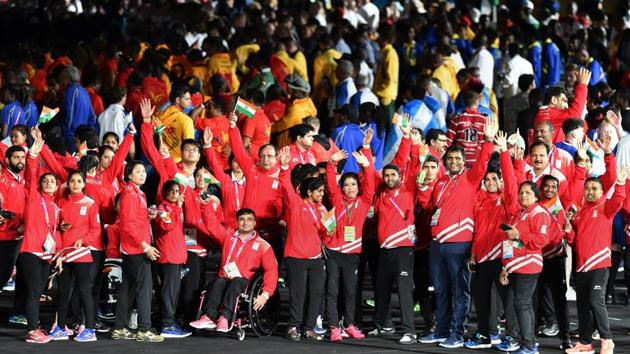 Indian contingent during the closing ceremony of the 2018 Commonwealth Games (CWG 2018) in Gold Coast on Sunday.(PTI)