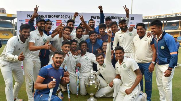 Vidarbha clinched the Ranji Trophy title for the first time in the 2017-18 season as they defeated Delhi in Indore.(PTI)