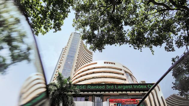 The Bombay Stock Exchange (BSE) building is pictured next to a police van in Mumbai, India.(REUTERS File Photo)