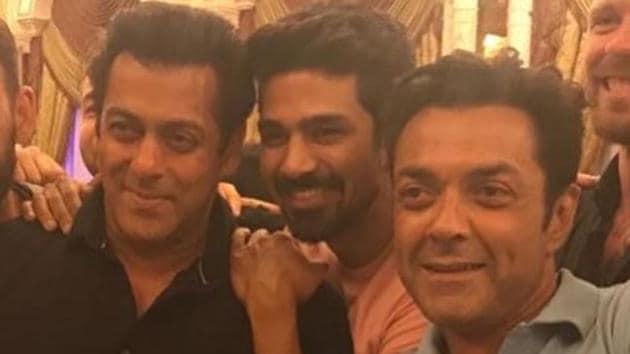 Salman Khan and Bobby Deol at Saqib Saleem's birthday party.