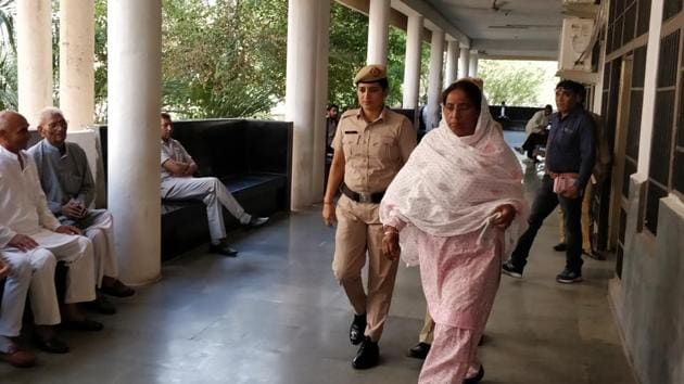 Main accused Jaswanti Devi in the Panchkula district court on Wednesday.(HT Photo)