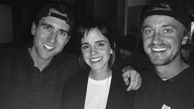 Emma Watson, Tom Felton and Matthew Lewis appeared in eight Harry Potter films together.(Instagram)