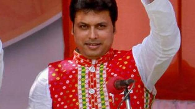 Tripura chief minister Biplab Kumar Deb during his swearing-in ceremony in Agartala in March. The chief minister had the National Informatics Centre (NIC) was using advanced technology invented more than thousand years ago.(PTI)
