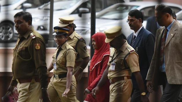 26-year-old Hadiya at the Supreme Court after hearing in New Delhi.(Vipin Kumar/HT File Photo)