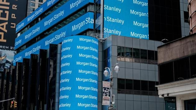Morgan Stanley digital signage is displayed on the exterior of the company's headquarters in New York, US.(Christopher Lee/Bloomberg)
