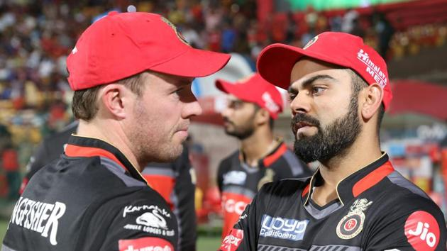 Virat Kohli (R) made adjustments to his game after observing the batting of Royal Challengers Bangalore teammate AB de Villiers.(BCCI)