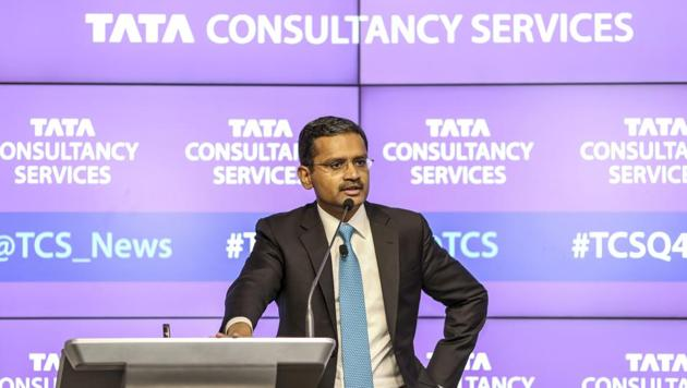 Rajesh Gopinathan, CEO and MD, TCS, speaks during a news conference in Mumbai. TCS posted a better-than-projected 4.5% rise in quarterly profit after scoring multi-billion dollar contracts recently and bolstered revenues from digital services like cloud and mobile.(Dhiraj Singh/Bloomberg)