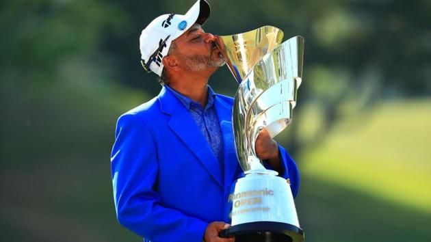 Rahil Gangee won a golf tournament after 14 long years, at the Panasonic Open in Osaka.(Asian Tour/Twitter)