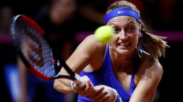 Czech Republic's Petra Kvitova in action during her singles match against Germany's Angelique Kerber in the Fed Cup.(REUTERS)