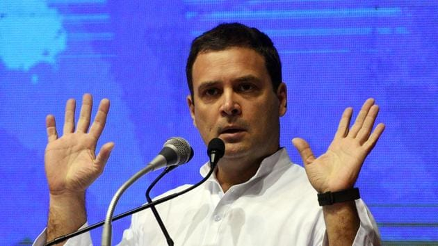 <p>Congress president Rahul Gandhi speaks at the launch of Congress&rsquo; nationwide Save the Constitution campaign in Delhi. Gandhi vowed to remove his rivals...