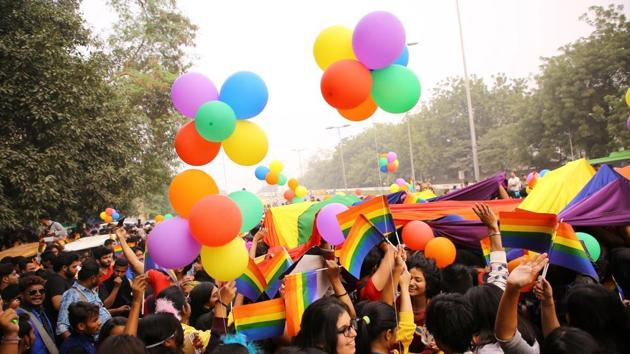 File photo of members and supporters of the LGBT (lesbians, gays, bisexual and transgender) community during Delhi's 10th queer pride march in New Delhi on November 12, 2017.(HT file photo)