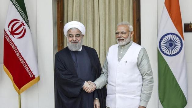 Prime Minister Narendra Modi with Iran President Hassan Rouhani, Hyderabad House, New Delhi, February 17, 2018(Vipin Kumar/HT)
