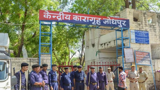 Security force deployed outside Jodhpur Central Jail ahead of the court's verdict on the rape case against Asaram.(PTI Photo)