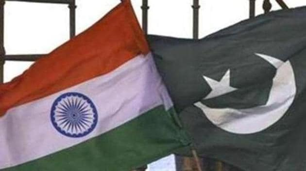 New Delhi, India - March 12, 2016: India Pakistan flags seen during the 2nd day of world culture Festival at Yamuna River Bank in New Delhi, India, on Saturday, March 12, 2016. (Photo by Raj K Raj/ Hindustan Times)(HT File)