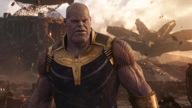 This image released by Disney shows Josh Brolin as Thanos in a scene from Marvel Studios' Avengers: Infinity War.(AP)