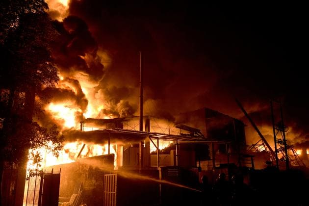 The fire broke out shortly after 2 am on Wednesday, officials said.(Hindustan Times)