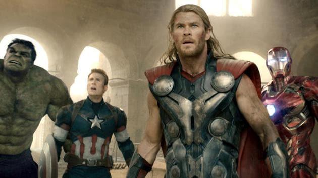 Hulk (Mark Ruffalo), Captain America (Chris Evans), Thor (Chris Hemsworth), Iron Man (Robert Downey Jr.), Black Widow (Scarlett Johansson), and Hawkeye (Jeremy Renner) in a still from Avengers: Age of Ultron.