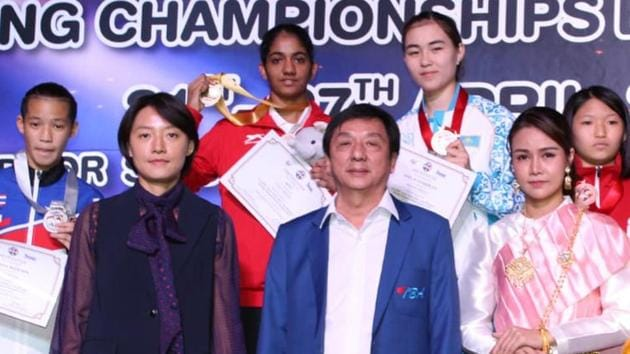 Nitu Ghanghas (centre), a world youth gold medallist, defeated Thailand's Nillada Meekoon by a unanimous decision to seal gold in 48kg women's category of the Asian Youth boxing championship.(HT Photo)