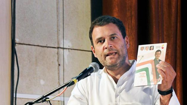 Congress president Rahul Gandhi addresses a gathering after releasing the Congress manifesto for the Karnataka assembly election, in Mangaluru on Friday.(PTI)