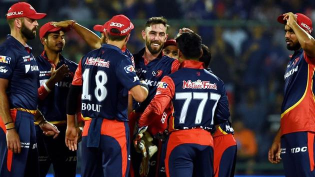 Get highlights of Delhi Daredevils vs Kolkata Knight Riders, IPL 2018 here. DD cricketers celebrate after their win over KKR in the Indian Premier League (IPL) 2018 clash in New Delhi on Friday.(AFP)
