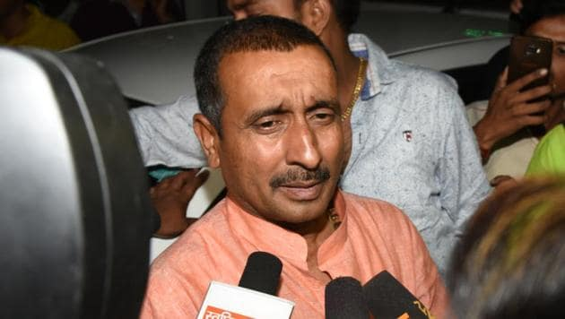 BJP MLA Kuldeep Singh Sengar, the main accused for the alleged rape a minor last year in Uttar Pradesh's Unnao. Sengar has been arrested and charged under the Protection of Children from Sexual Offences (POCSO) Act .(Subhankar Chakraborty/HT File Photo)